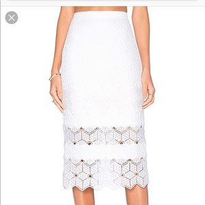 Rebecca Taylor Dia Lace pencil skirt in snow